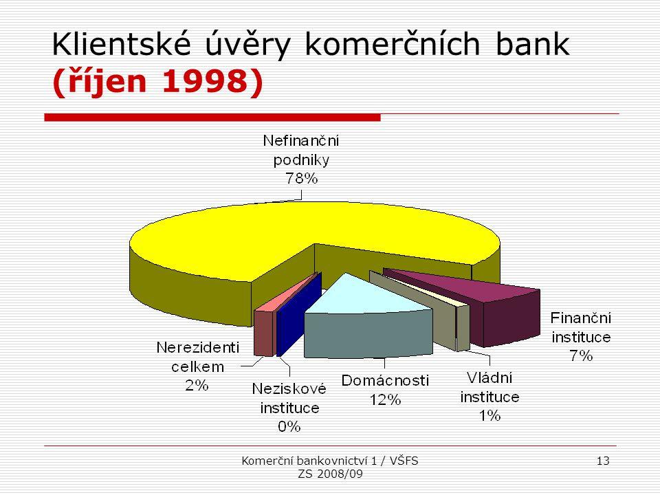Komerční bankovnictví 1 / VŠFS ZS 2008/09 13 Klientské úvěry komerčních bank (říjen 1998)