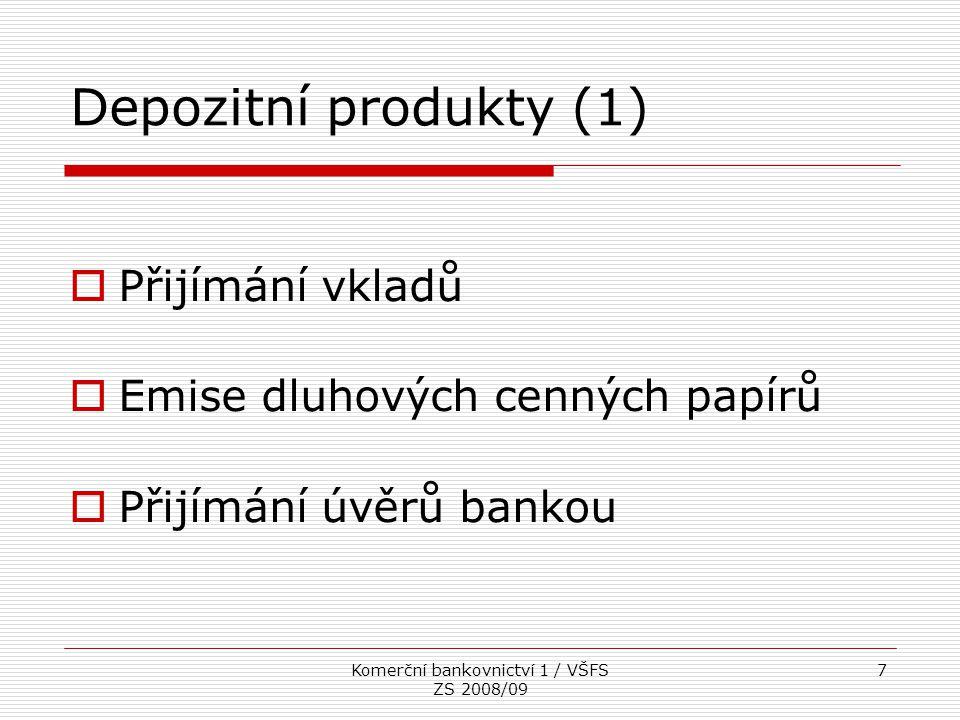 Komerční bankovnictví 1 / VŠFS ZS 2008/09 8  Smlouva o vkladovém účtu  Vklady na vkladních knížkách  Vkladní list  nejedná se o CP  Vklady v rámci stavebního spoření  Bankovní dluhové CP  nevztahuje se na ně zákonné pojištění vkladů Depozitní produkty (2)