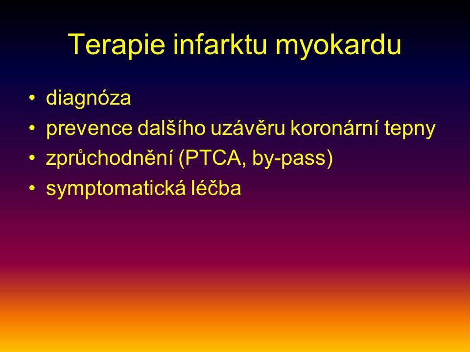 Terapie infarktu myokardu diagnóza prevence dalšího uzávěru koronární tepny zprůchodnění (PTCA, by-pass) symptomatická léčba