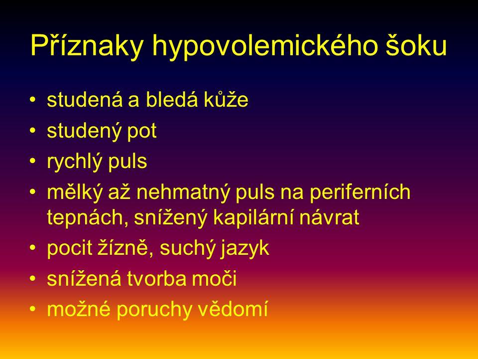 Příznaky hypovolemického šoku studená a bledá kůže studený pot rychlý puls mělký až nehmatný puls na periferních tepnách, snížený kapilární návrat pocit žízně, suchý jazyk snížená tvorba moči možné poruchy vědomí