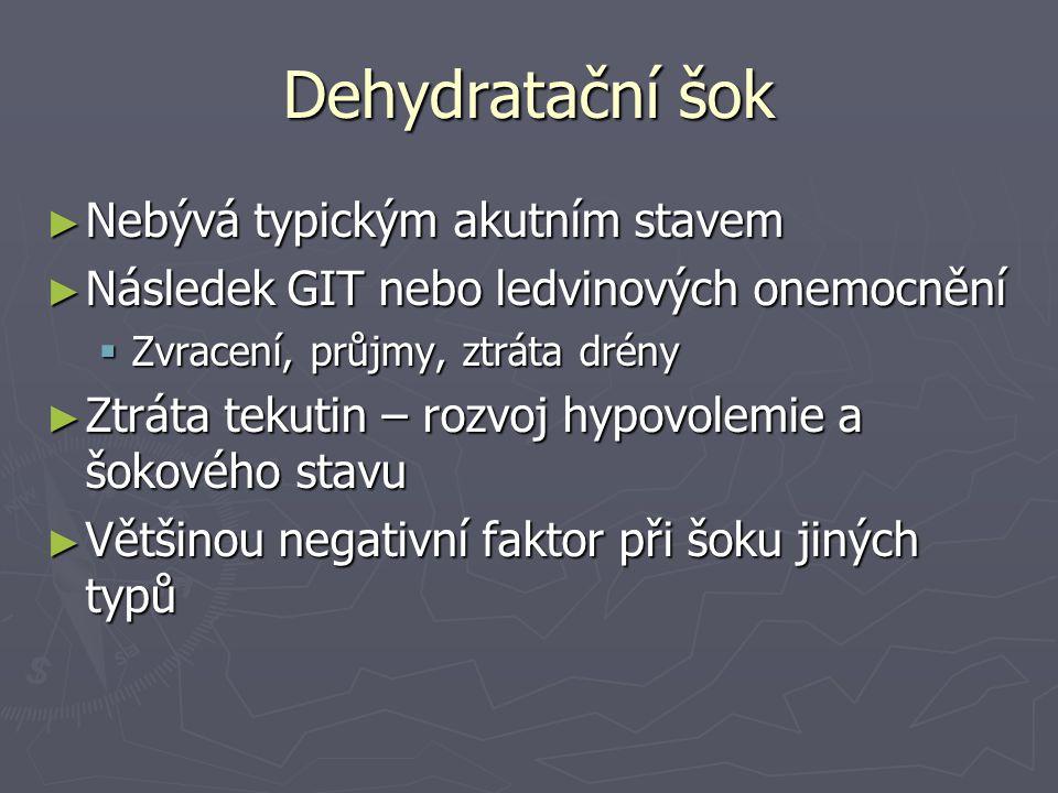 Dehydratační šok ► Nebývá typickým akutním stavem ► Následek GIT nebo ledvinových onemocnění  Zvracení, průjmy, ztráta drény ► Ztráta tekutin – rozvo
