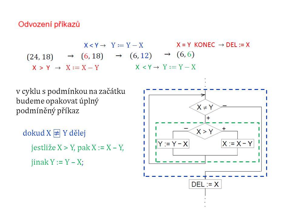 dokud X ⍯ Y dělej jestliže X > Y, pak X := X – Y, jinak Y := Y – X; v cyklu s podmínkou na začátku budeme opakovat úplný podmíněný příkaz