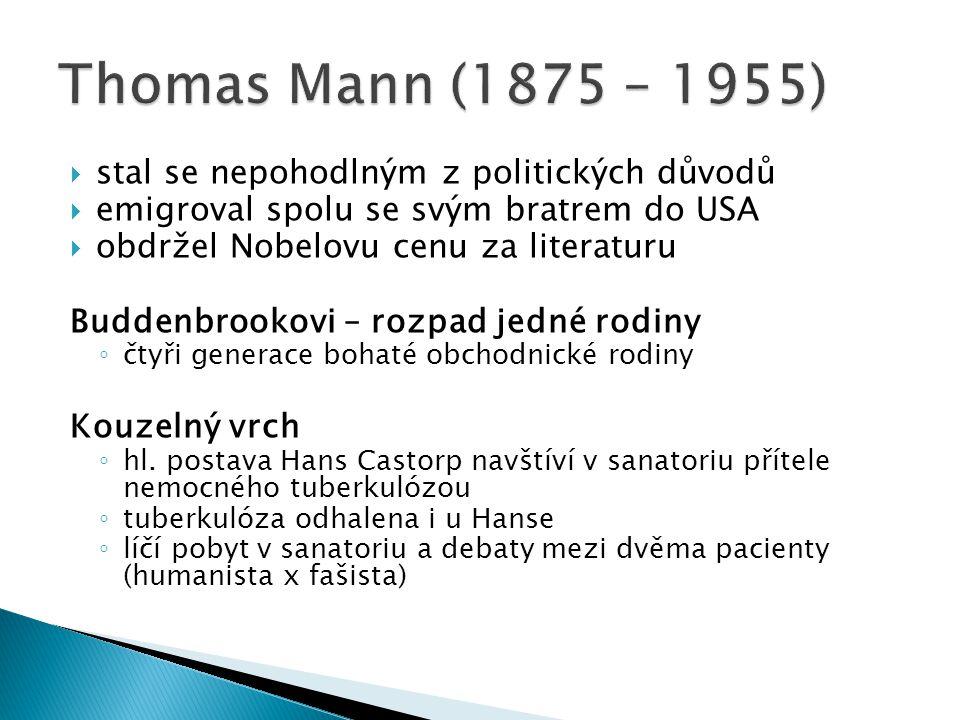  stal se nepohodlným z politických důvodů  emigroval spolu se svým bratrem do USA  obdržel Nobelovu cenu za literaturu Buddenbrookovi – rozpad jedné rodiny ◦ čtyři generace bohaté obchodnické rodiny Kouzelný vrch ◦ hl.