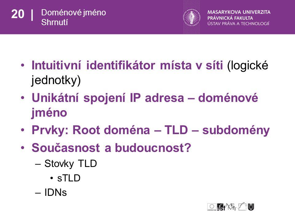 20 Doménové jméno Shrnutí Intuitivní identifikátor místa v síti (logické jednotky) Unikátní spojení IP adresa – doménové jméno Prvky: Root doména – TLD – subdomény Současnost a budoucnost.