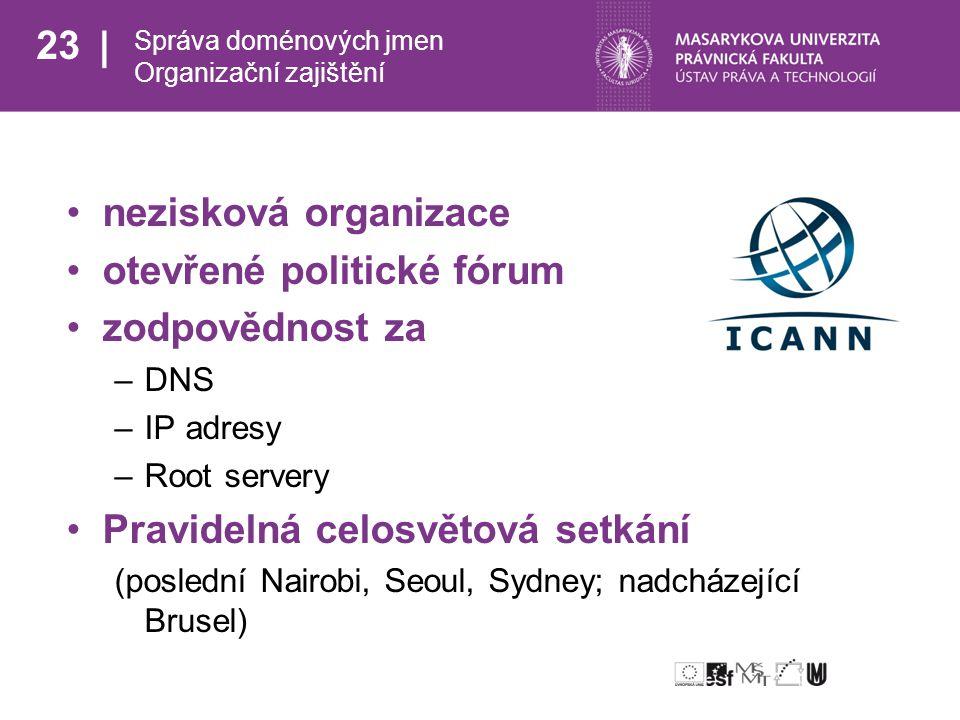 23 Správa doménových jmen Organizační zajištění nezisková organizace otevřené politické fórum zodpovědnost za –DNS –IP adresy –Root servery Pravidelná celosvětová setkání (poslední Nairobi, Seoul, Sydney; nadcházející Brusel)