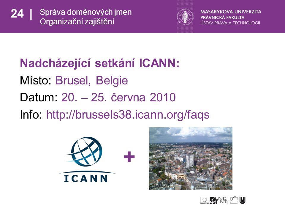 24 Správa doménových jmen Organizační zajištění Nadcházející setkání ICANN: Místo: Brusel, Belgie Datum: 20.
