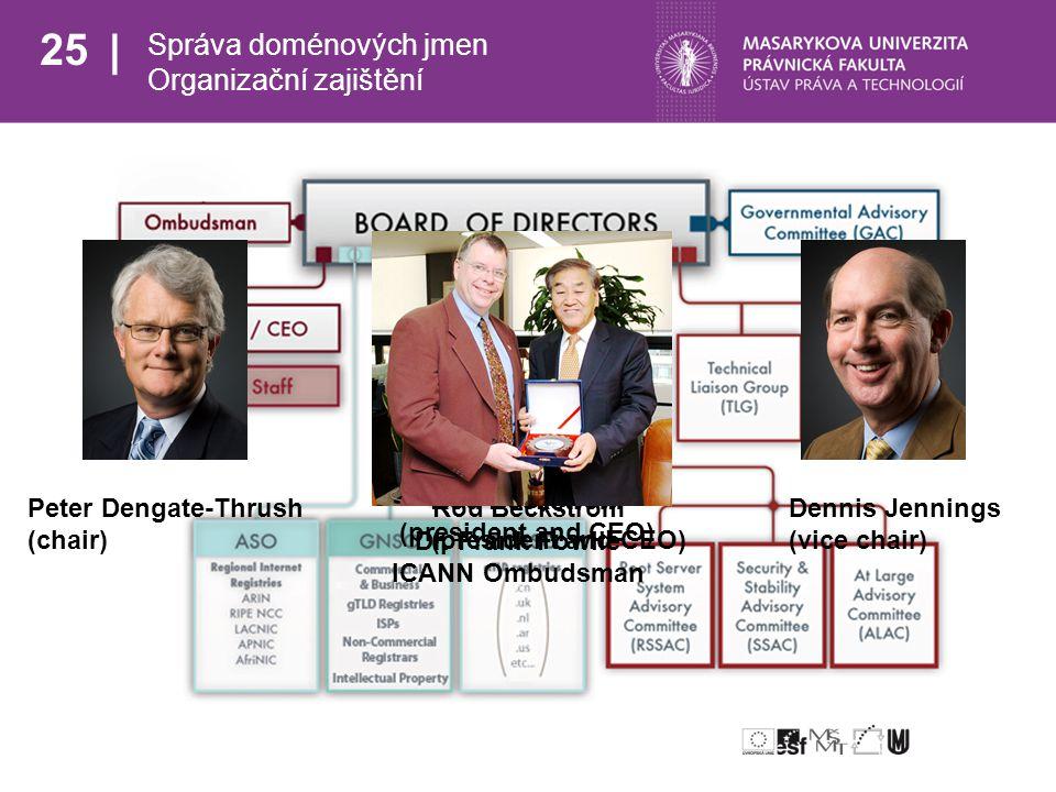25 Správa doménových jmen Organizační zajištění Peter Dengate-Thrush Rod Beckstrom Dennis Jennings (chair) (president and CEO) (vice chair) Rod Beckstrom (president and CEO) Dr.