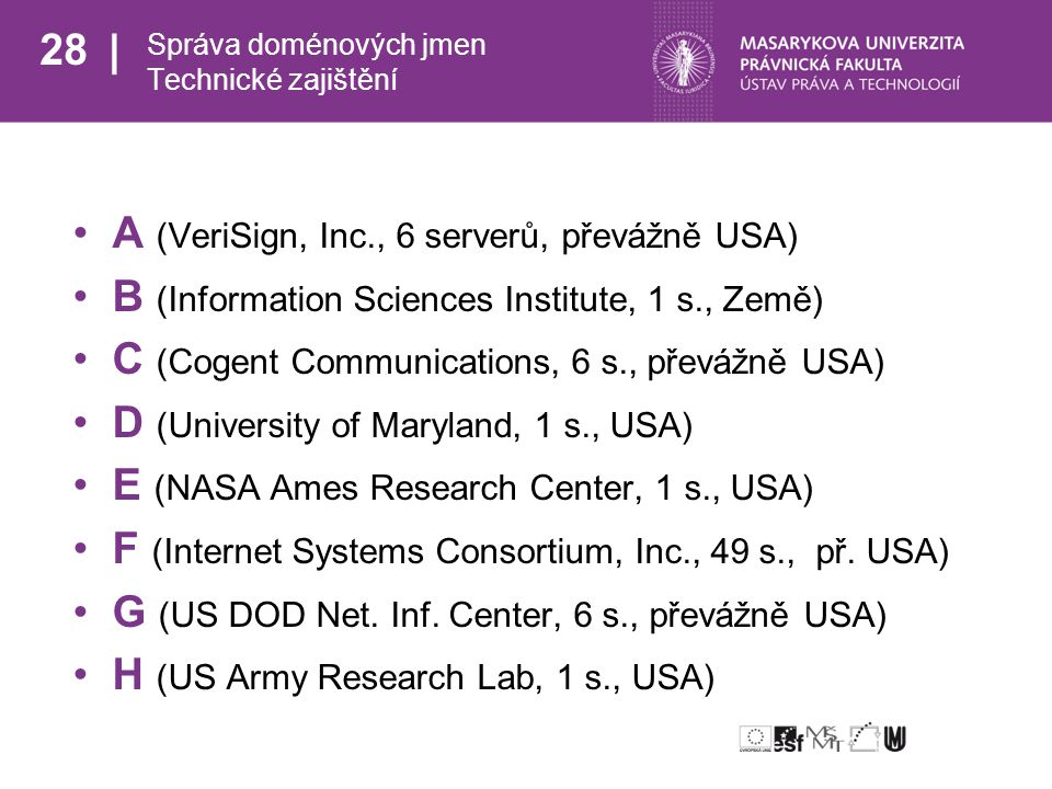 28 Správa doménových jmen Technické zajištění A (VeriSign, Inc., 6 serverů, převážně USA) B (Information Sciences Institute, 1 s., Země) C (Cogent Communications, 6 s., převážně USA) D (University of Maryland, 1 s., USA) E (NASA Ames Research Center, 1 s., USA) F (Internet Systems Consortium, Inc., 49 s., př.