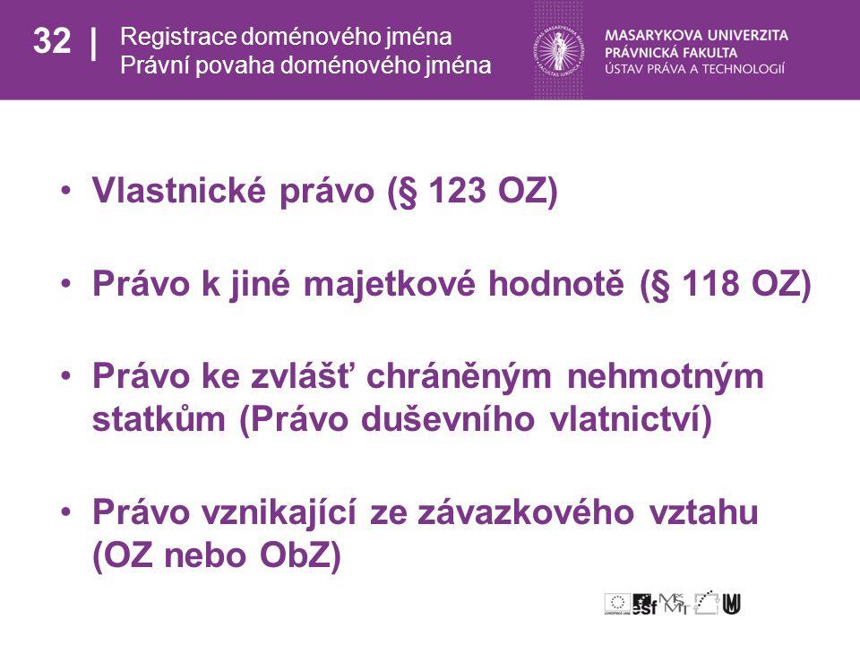 32 Registrace doménového jména Právní povaha doménového jména Vlastnické právo (§ 123 OZ) Právo k jiné majetkové hodnotě (§ 118 OZ) Právo ke zvlášť chráněným nehmotným statkům (Právo duševního vlatnictví) Právo vznikající ze závazkového vztahu (OZ nebo ObZ)