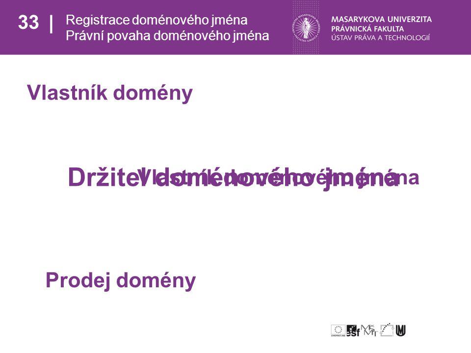 33 Registrace doménového jména Právní povaha doménového jména Vlastník domény Vlastník doménového jména Prodej domény Držitel doménového jména