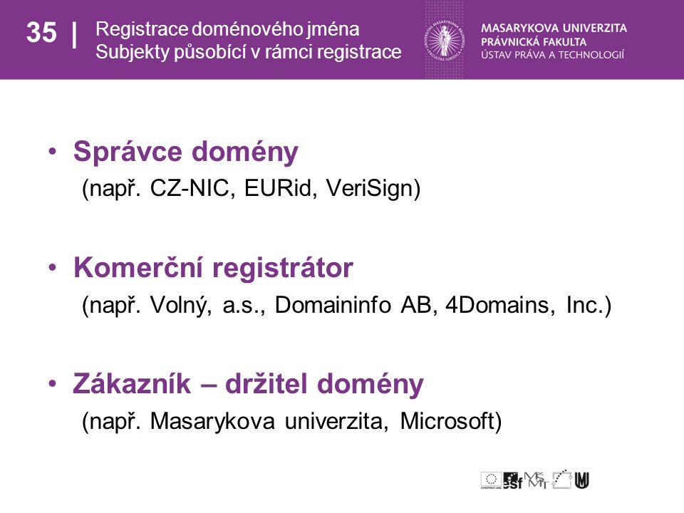 35 Registrace doménového jména Subjekty působící v rámci registrace Správce domény (např.