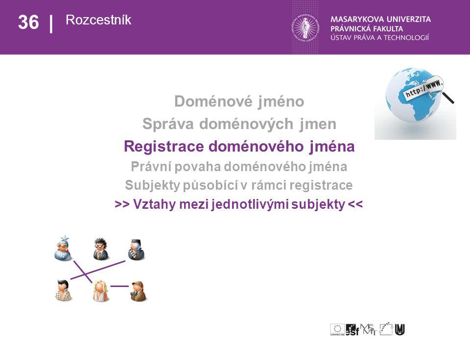 36 Rozcestník Doménové jméno Správa doménových jmen Registrace doménového jména Právní povaha doménového jména Subjekty působící v rámci registrace >> Vztahy mezi jednotlivými subjekty <<