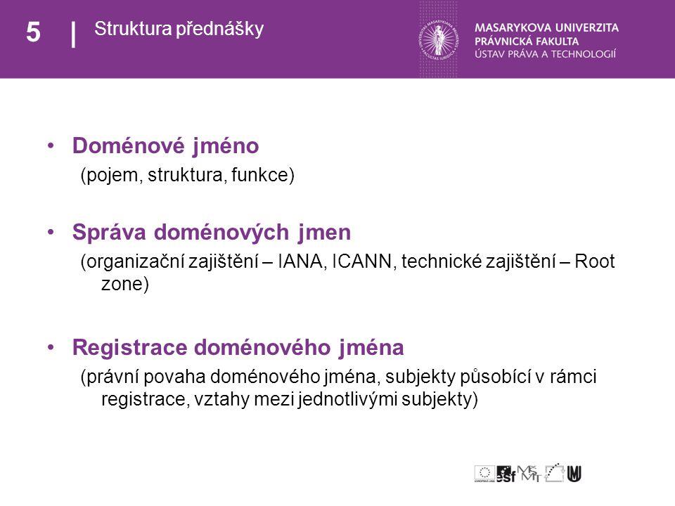 6 Rozcestník Doménové jméno >> Pojem << Struktura Funkce Správa doménových jmen Registrace doménového jména
