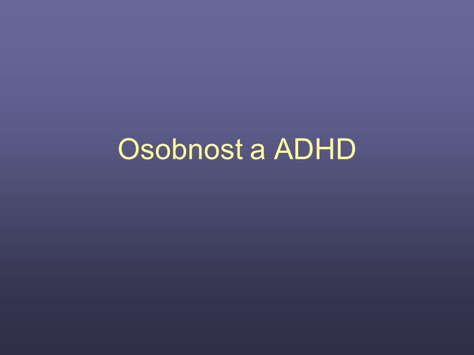 """Hypotézy o vztahu ADHD a Big- Five: A) jádrové problémy s pozorností budou souviset s nízkou svědomitostí (dle definice se totiž svědomitost vztahuje k """"společensky předepsané kontrole impulzů, která usnadňuje jednání zaměřené na cíl ) B) syndrom ADHD bude souviset také s neuroticismem (což je v souladu se souvislostí ADHD s internalizujícími obtížemi) C) hyperaktivita a impulzivita budou souviset s nízkou přívětivostí (vyrušování a přerušování ostatních; přívětivost je spojena se zájmem o druhé, důvěrou, vyhověním, altruismem) autoři nezeřadili hypotézu o souvislosti ADHD s extroverzí, neboť Eysenck vyřadil impulzivitu z konstruktu extroverze: nekorelovala s ostatními rysy, které extroverzi vytvářejí (aktivita, pozitivní emotivita, sociabilita) autoři nepředpokládali těsnější vztah mezi ADHD a otevřeností ke zkušenosti, upozorňovali na vztah mezi otevřeností ke zkušenosti a školním výkonem"""
