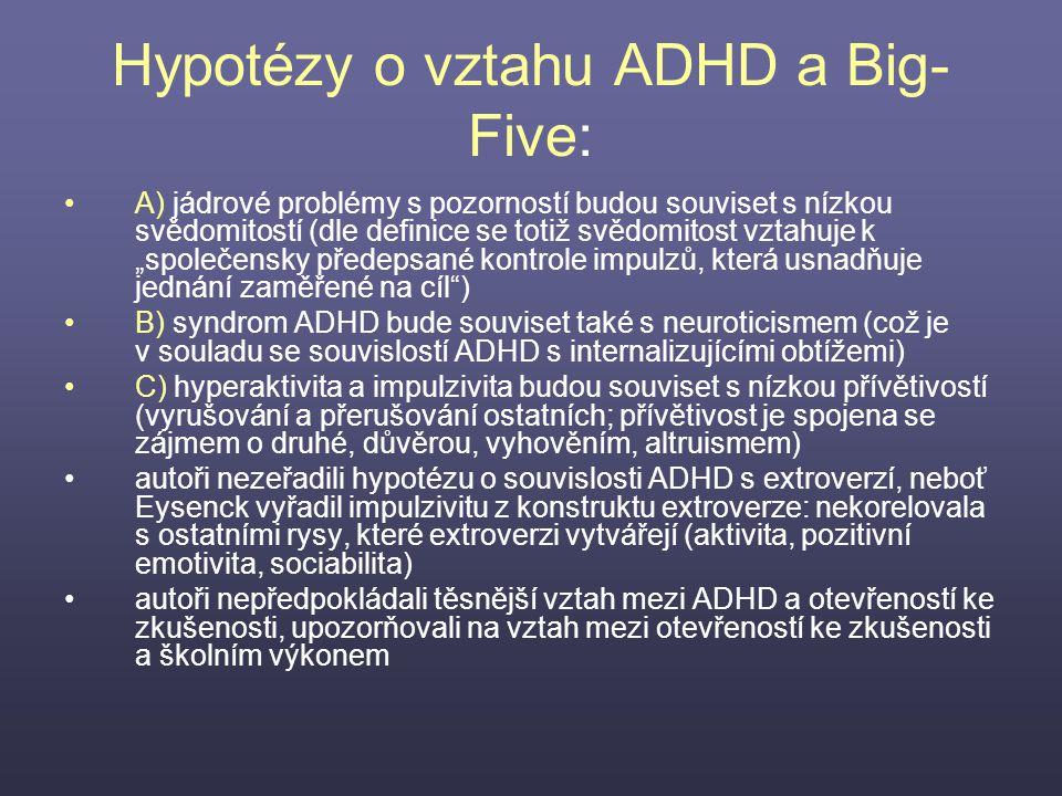 Hypotézy o vztahu ADHD a Big- Five: A) jádrové problémy s pozorností budou souviset s nízkou svědomitostí (dle definice se totiž svědomitost vztahuje