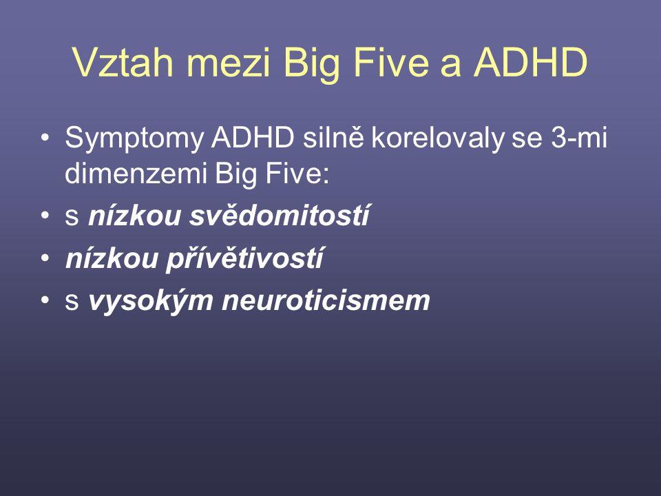 Vztah mezi Big Five a ADHD Symptomy ADHD silně korelovaly se 3-mi dimenzemi Big Five: s nízkou svědomitostí nízkou přívětivostí s vysokým neuroticisme
