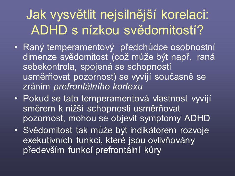 Jak vysvětlit nejsilnější korelaci: ADHD s nízkou svědomitostí? Raný temperamentový předchůdce osobnostní dimenze svědomitost (což může být např. raná