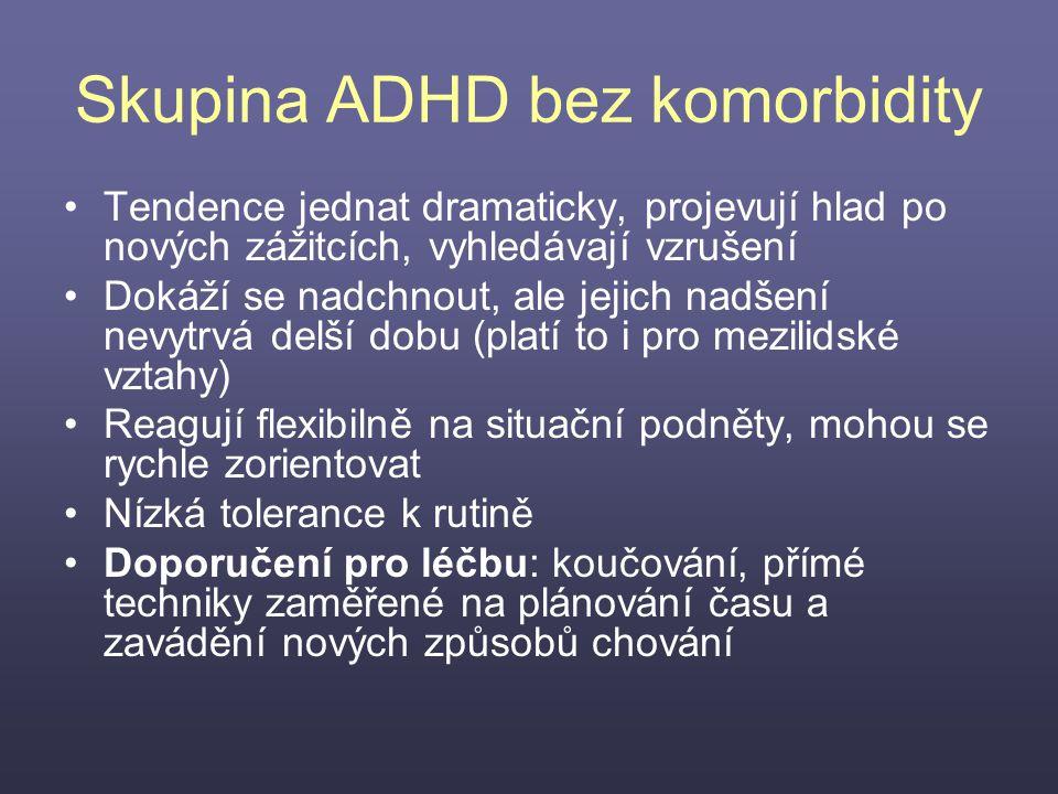 Skupina ADHD bez komorbidity Tendence jednat dramaticky, projevují hlad po nových zážitcích, vyhledávají vzrušení Dokáží se nadchnout, ale jejich nadš