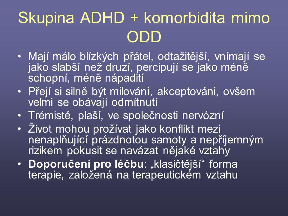Skupina ADHD + komorbidita mimo ODD Mají málo blízkých přátel, odtažitější, vnímají se jako slabší než druzí, percipují se jako méně schopní, méně náp