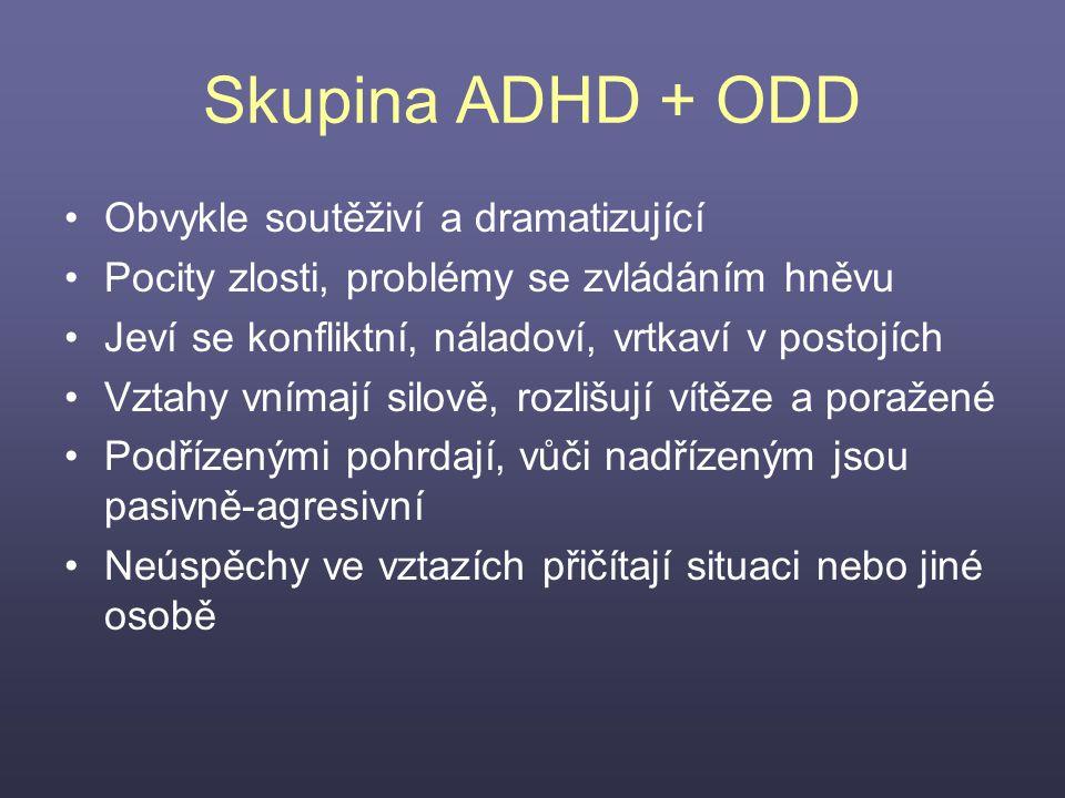Skupina ADHD + ODD Obvykle soutěživí a dramatizující Pocity zlosti, problémy se zvládáním hněvu Jeví se konfliktní, náladoví, vrtkaví v postojích Vzta
