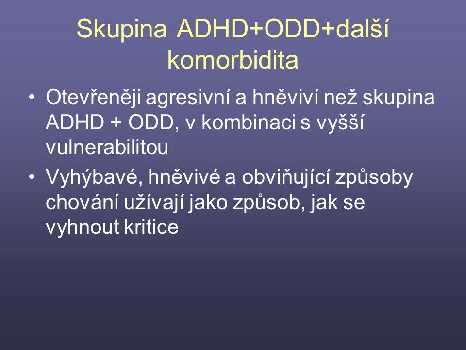 Skupina ADHD+ODD+další komorbidita Otevřeněji agresivní a hněviví než skupina ADHD + ODD, v kombinaci s vyšší vulnerabilitou Vyhýbavé, hněvivé a obviň