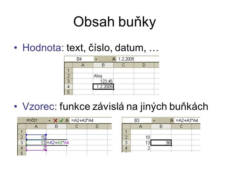 """Formát buňky Číslo – """"Datový typ buňky, formát zobrazení hodnoty Zarovnání (horizontální, vertikální, směr textu, …) Písmo (font, velikost, barva, …) Ohraničení (rámečky, barva, styl, tloušťka, …) Vzorky (barva a vzorek podkladu buňky)"""