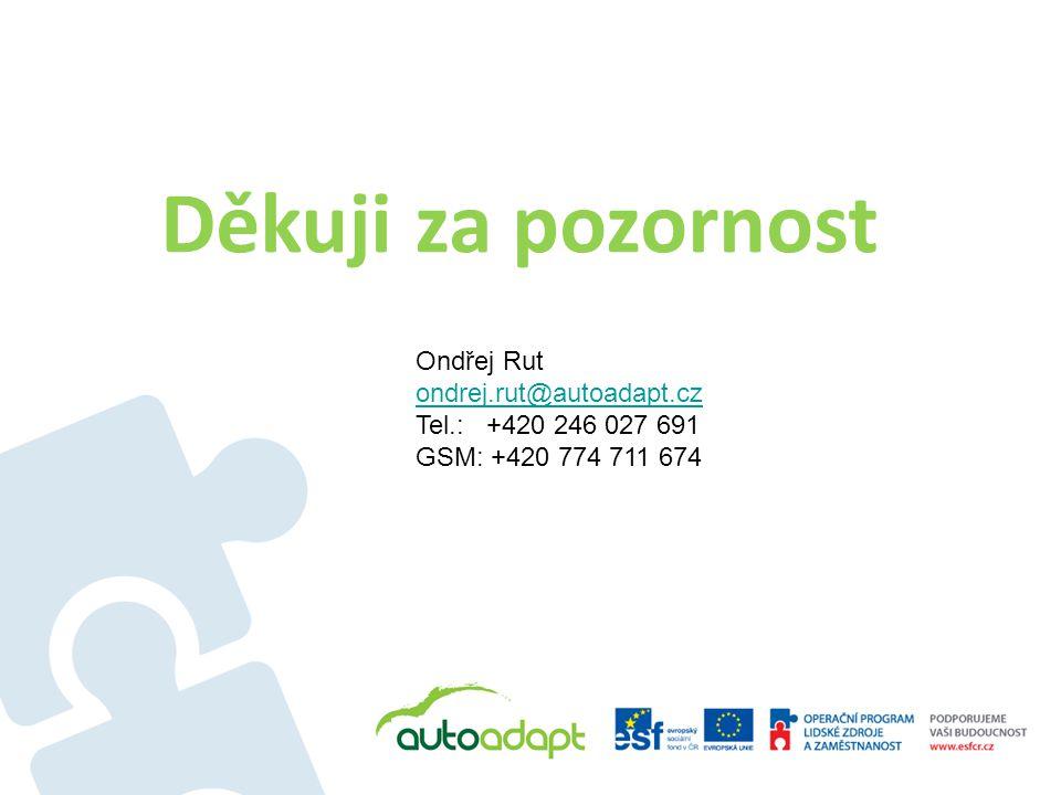 Děkuji za pozornost Ondřej Rut ondrej.rut@autoadapt.cz Tel.: +420 246 027 691 GSM: +420 774 711 674