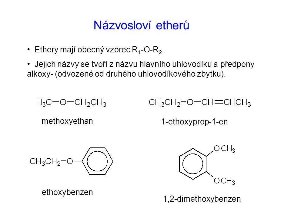 Názvosloví etherů Ethery mají obecný vzorec R 1 -O-R 2. Jejich názvy se tvoří z názvu hlavního uhlovodíku a předpony alkoxy- (odvozené od druhého uhlo