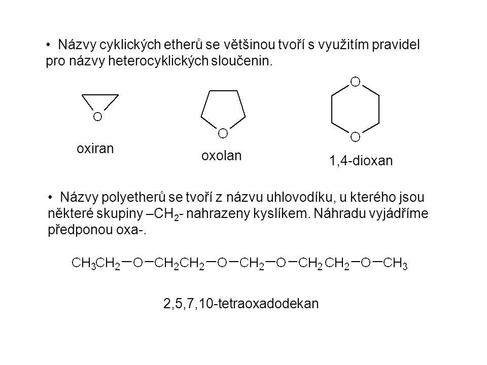 Názvy cyklických etherů se většinou tvoří s využitím pravidel pro názvy heterocyklických sloučenin. Názvy polyetherů se tvoří z názvu uhlovodíku, u kt