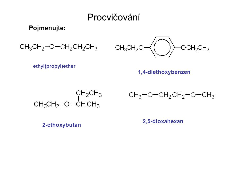 Napište vzorce: 1,5-epoxycyklooktan 2,3-epoxyhexan dimethylether fenyl(methyl)ether