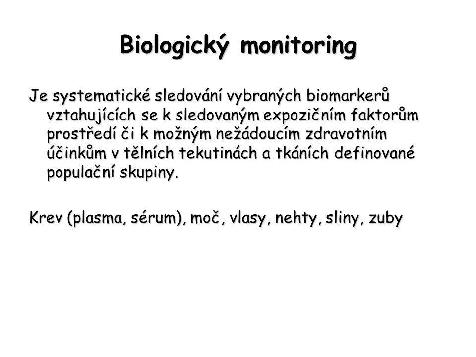 Biologický monitoring Je systematické sledování vybraných biomarkerů vztahujících se k sledovaným expozičním faktorům prostředí či k možným nežádoucím zdravotním účinkům v tělních tekutinách a tkáních definované populační skupiny.