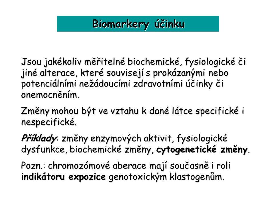 Biomarkery účinku Jsou jakékoliv měřitelné biochemické, fysiologické či jiné alterace, které souvisejí s prokázanými nebo potenciálními nežádoucími zd
