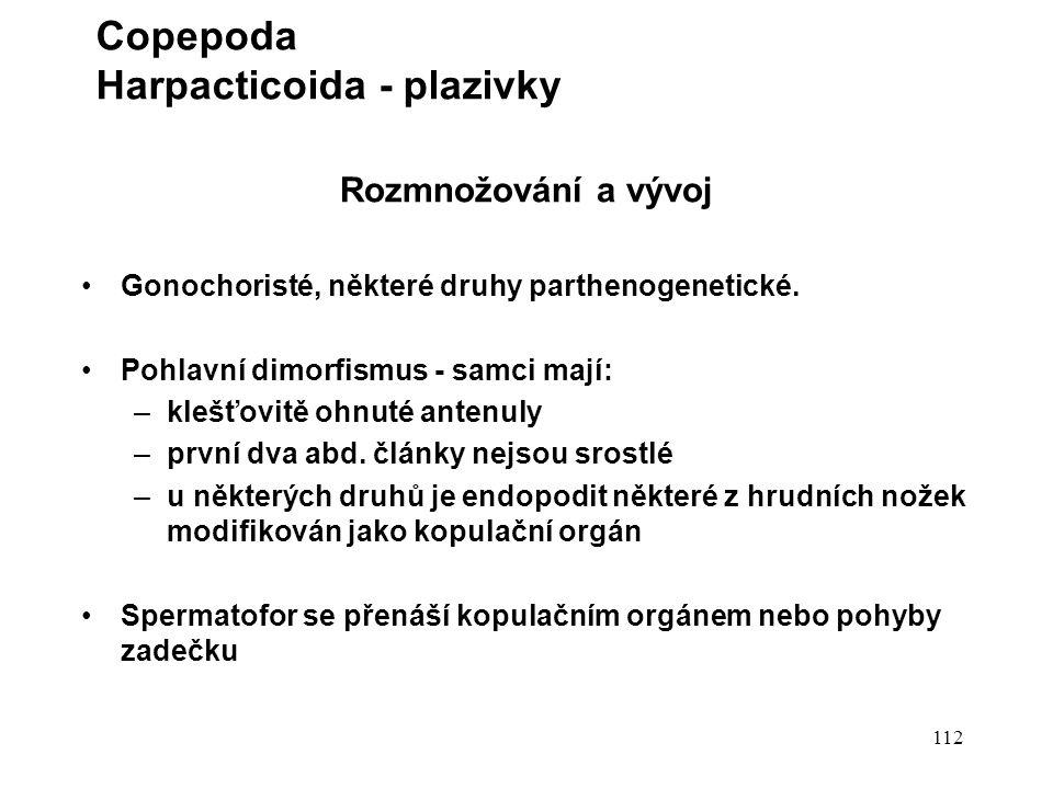112 Rozmnožování a vývoj Gonochoristé, některé druhy parthenogenetické.
