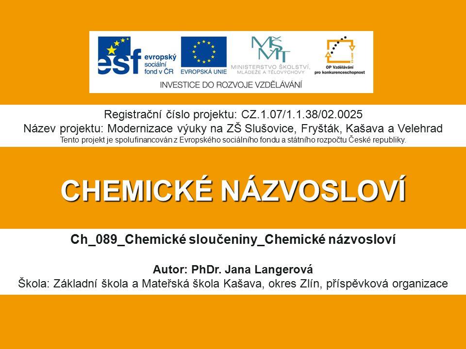 CHEMICKÉ NÁZVOSLOVÍ Ch_089_Chemické sloučeniny_Chemické názvosloví Autor: PhDr.