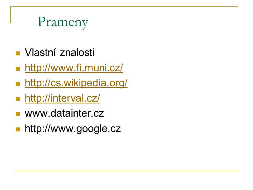 Prameny Vlastní znalosti http://www.fi.muni.cz/ http://cs.wikipedia.org/ http://interval.cz/ www.datainter.cz http://www.google.cz
