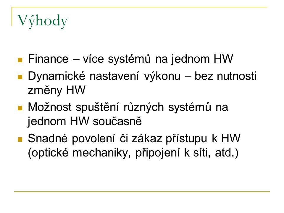 Výhody Finance – více systémů na jednom HW Dynamické nastavení výkonu – bez nutnosti změny HW Možnost spuštění různých systémů na jednom HW současně S