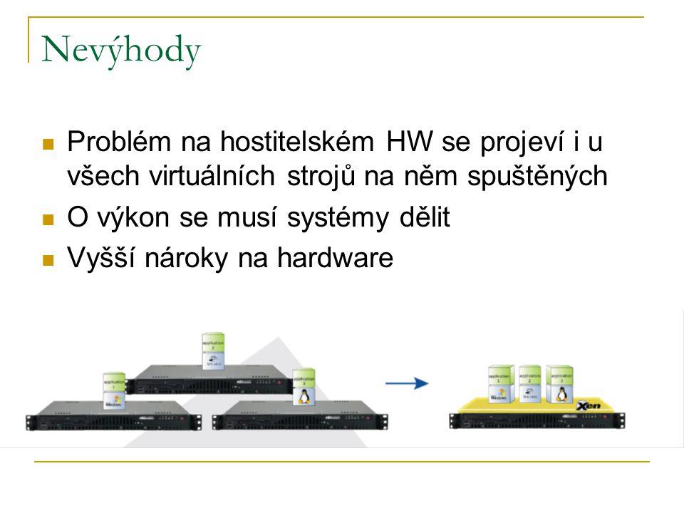 Nevýhody Problém na hostitelském HW se projeví i u všech virtuálních strojů na něm spuštěných O výkon se musí systémy dělit Vyšší nároky na hardware