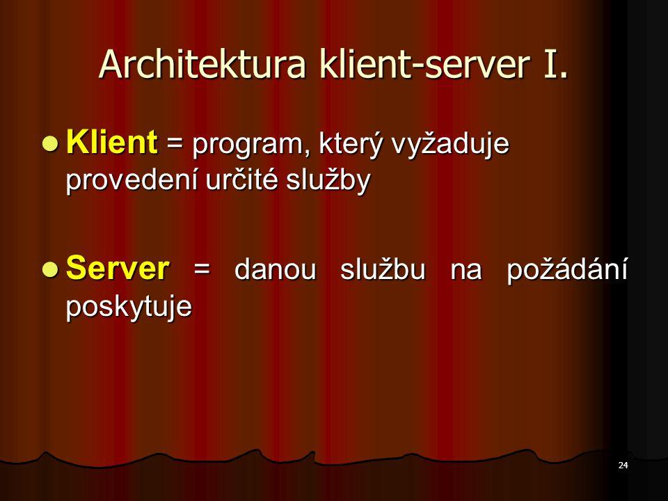 24 Architektura klient-server I. Klient = program, který vyžaduje provedení určité služby Klient = program, který vyžaduje provedení určité služby Ser