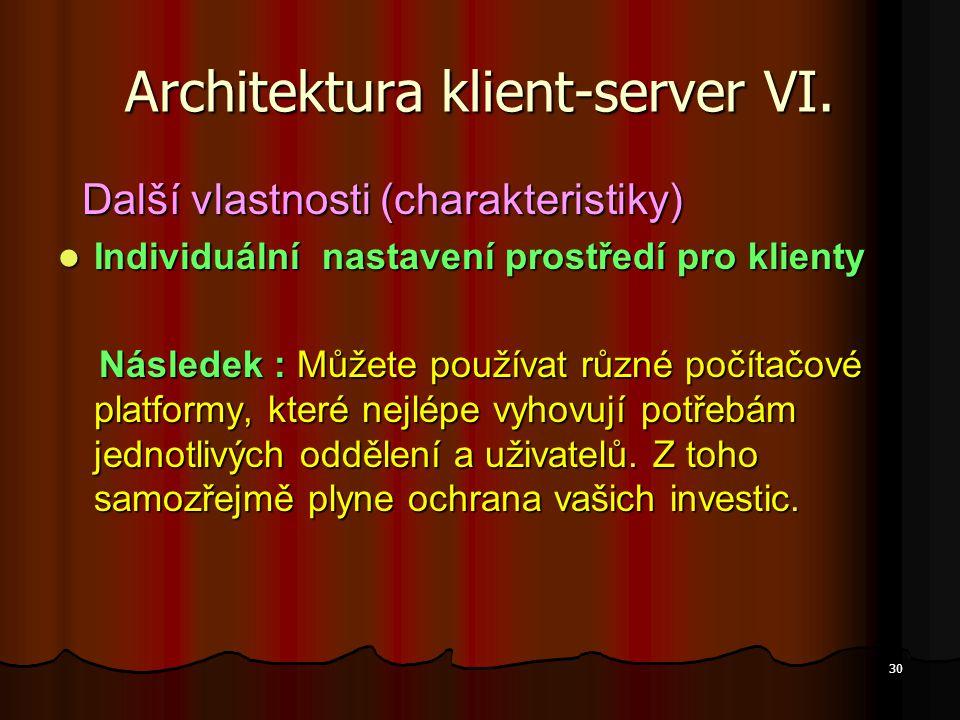 30 Architektura klient-server VI. Další vlastnosti (charakteristiky) Další vlastnosti (charakteristiky) Individuální nastavení prostředí pro klienty I