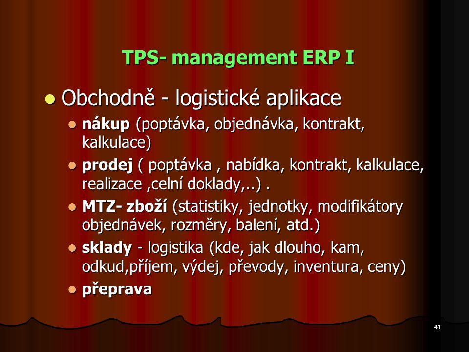 41 TPS- management ERP I Obchodně - logistické aplikace Obchodně - logistické aplikace nákup (poptávka, objednávka, kontrakt, kalkulace) nákup (poptáv