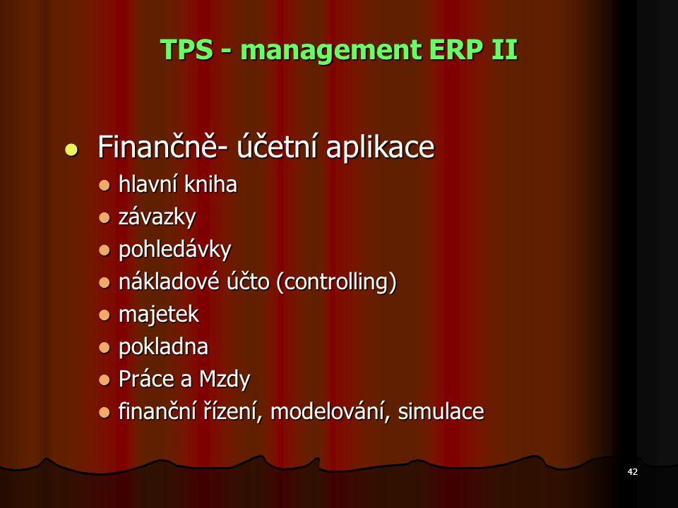 42 TPS - management ERP II Finančně- účetní aplikace Finančně- účetní aplikace hlavní kniha hlavní kniha závazky závazky pohledávky pohledávky náklado