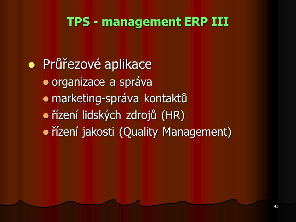 43 TPS - management ERP III Průřezové aplikace Průřezové aplikace organizace a správa organizace a správa marketing-správa kontaktů marketing-správa k