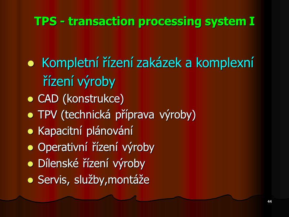 44 TPS - transaction processing system I Kompletní řízení zakázek a komplexní Kompletní řízení zakázek a komplexní řízení výroby řízení výroby CAD (ko