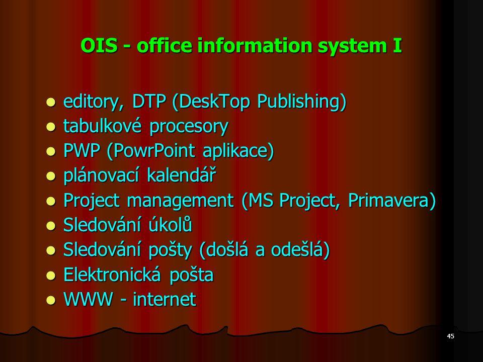45 OIS - office information system I editory, DTP (DeskTop Publishing) editory, DTP (DeskTop Publishing) tabulkové procesory tabulkové procesory PWP (