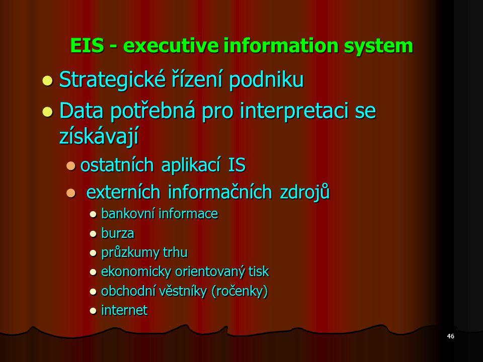 46 EIS - executive information system Strategické řízení podniku Strategické řízení podniku Data potřebná pro interpretaci se získávají Data potřebná