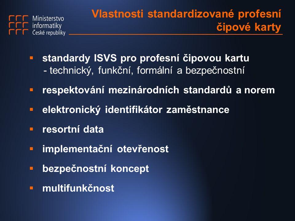 Vlastnosti standardizované profesní čipové karty  standardy ISVS pro profesní čipovou kartu - technický, funkční, formální a bezpečnostní  respektování mezinárodních standardů a norem  elektronický identifikátor zaměstnance  resortní data  implementační otevřenost  bezpečnostní koncept  multifunkčnost