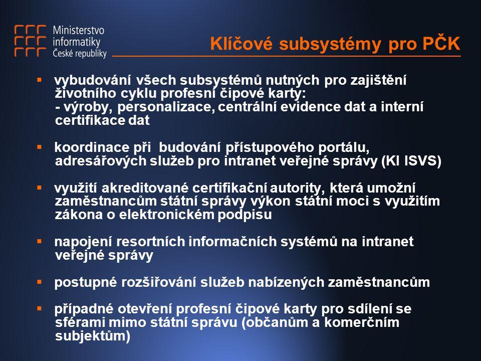 Klíčové subsystémy pro PČK  vybudování všech subsystémů nutných pro zajištění životního cyklu profesní čipové karty: - výroby, personalizace, centrál