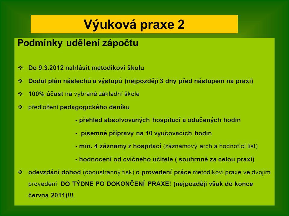 Podmínky udělení zápočtu  Do 9.3.2012 nahlásit metodikovi školu  Dodat plán náslechů a výstupů (nejpozději 3 dny před nástupem na praxi)  100% účas