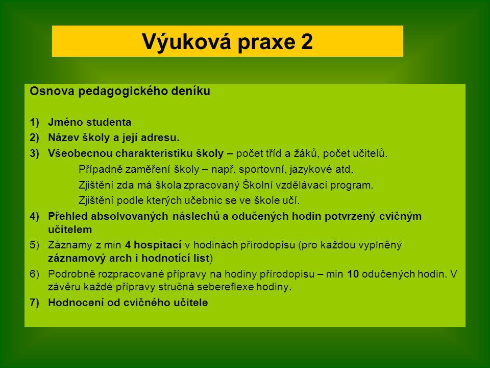 Osnova pedagogického deníku 1)Jméno studenta 2)Název školy a její adresu. 3)Všeobecnou charakteristiku školy – počet tříd a žáků, počet učitelů. Přípa