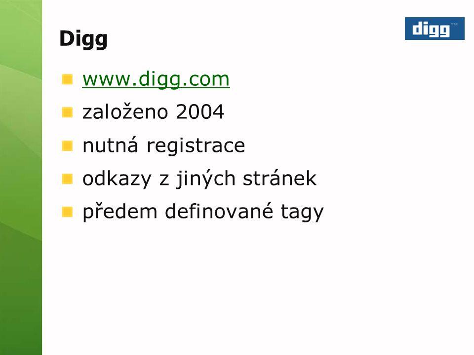 Digg www.digg.com založeno 2004 nutná registrace odkazy z jiných stránek předem definované tagy